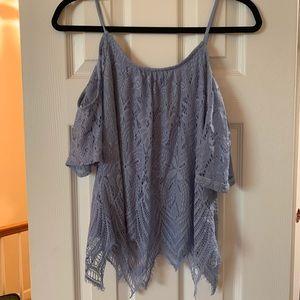 Francesca's Alya cold shoulder lace shirt